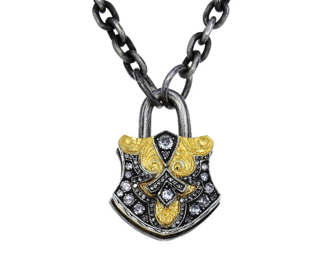 Diamond Shield Padlock Pendant