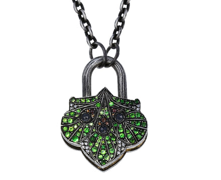 Green Garnet and Mixed Diamond Lantern Padlock Pendant