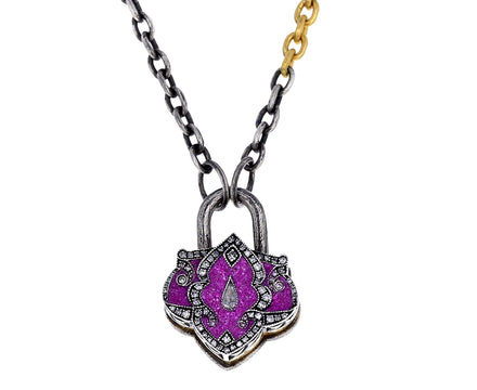 Amethyst and Diamond Lantern Padlock Pendant