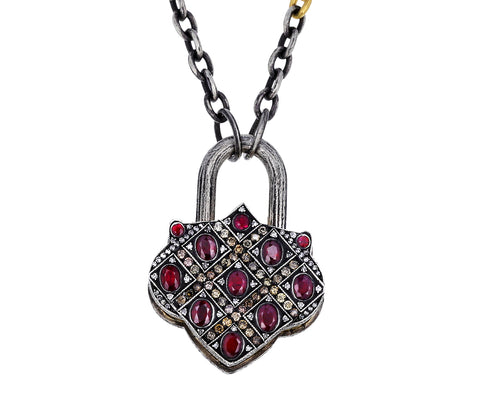 Ruby and Diamond Lantern Padlock Pendant