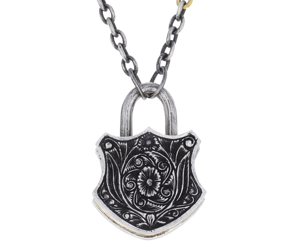 Yellow Micro-Mosaic and Diamond Flower Shield Padlock Pendant