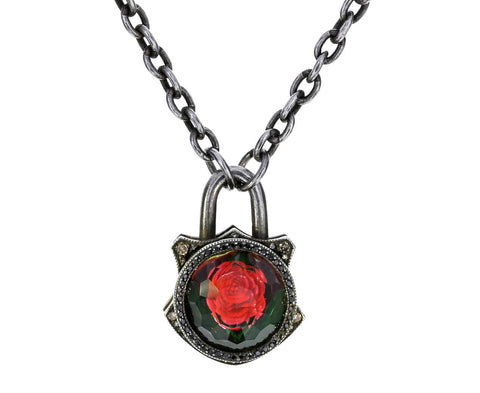 Red Rose Padlock Pendant With Diamonds - TWISTonline
