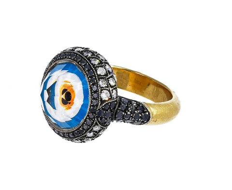 Carved Rock Quartz Evil Eye Ring - TWISTonline
