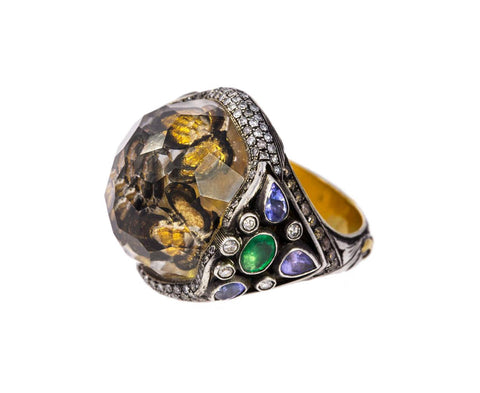 Butterfly Carved Rock Quartz Ring zoom 1_sevan_bicakci_silver_gold_quartz_carved_butterfl