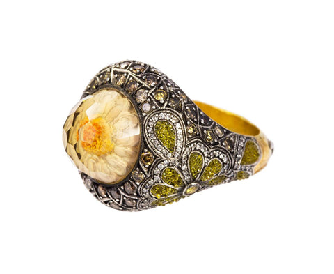 Daisy Carved Lemon Quartz Ring zoom 1_sevan_bicakci_silver_gold_lemon_topaz_carved_dai