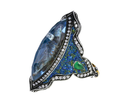 Long Boat Carved Blue Topaz Ring - TWISTonline