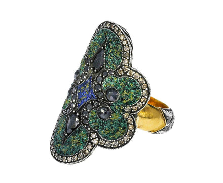Green Micro-Mosaic Shield Ring with Black and Fancy Diamonds - TWISTonline