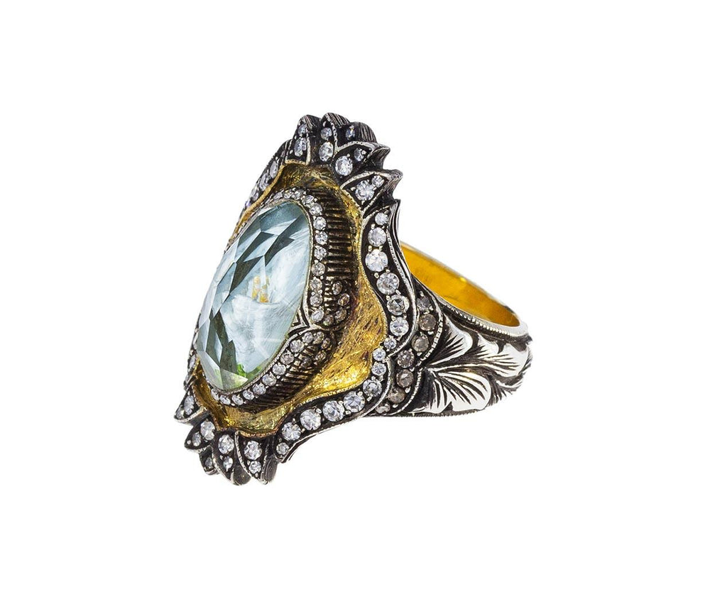 White Calla Lily Carved Rock Quartz Ring - TWISTonline