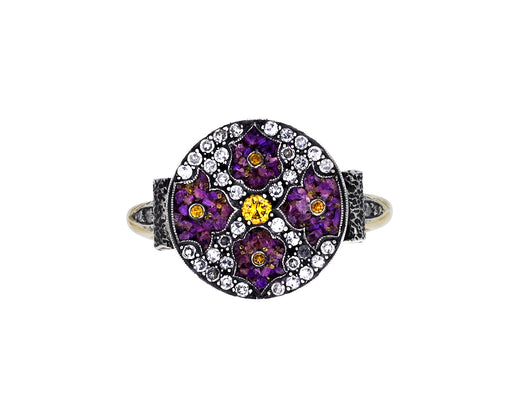Purple Micro-Mosaic and Diamond Flower Ring