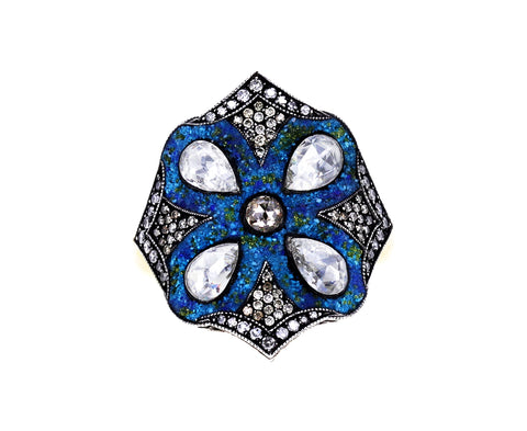 Turquoise Micro-Mosaic and Diamond Theodora Shield Ring