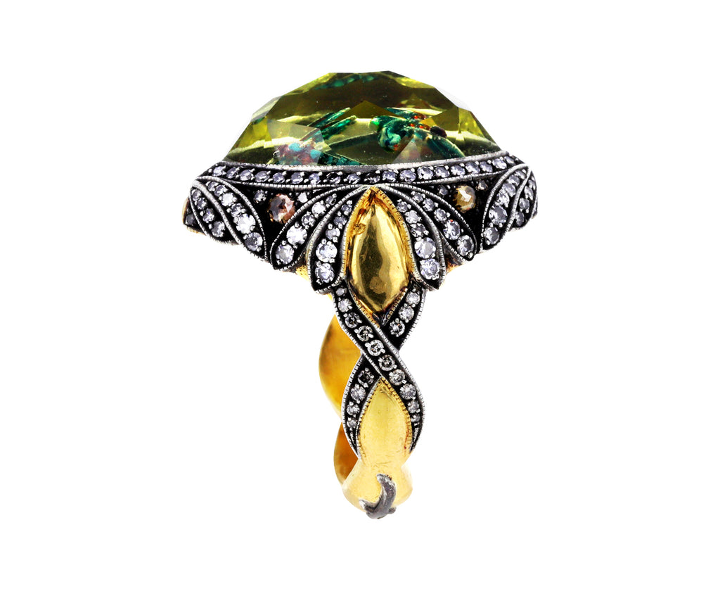 Carved Dragonfly Citrine Ring