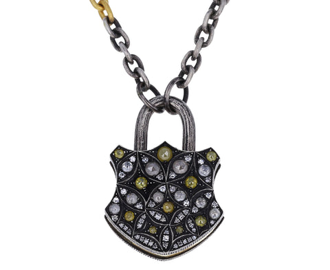 Large Diamond Shield Padlock Pendant