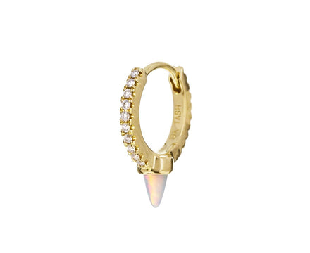 5/16 Yellow Gold Diamond Eternity Opal Spike SINGLE Hoop - TWISTonline