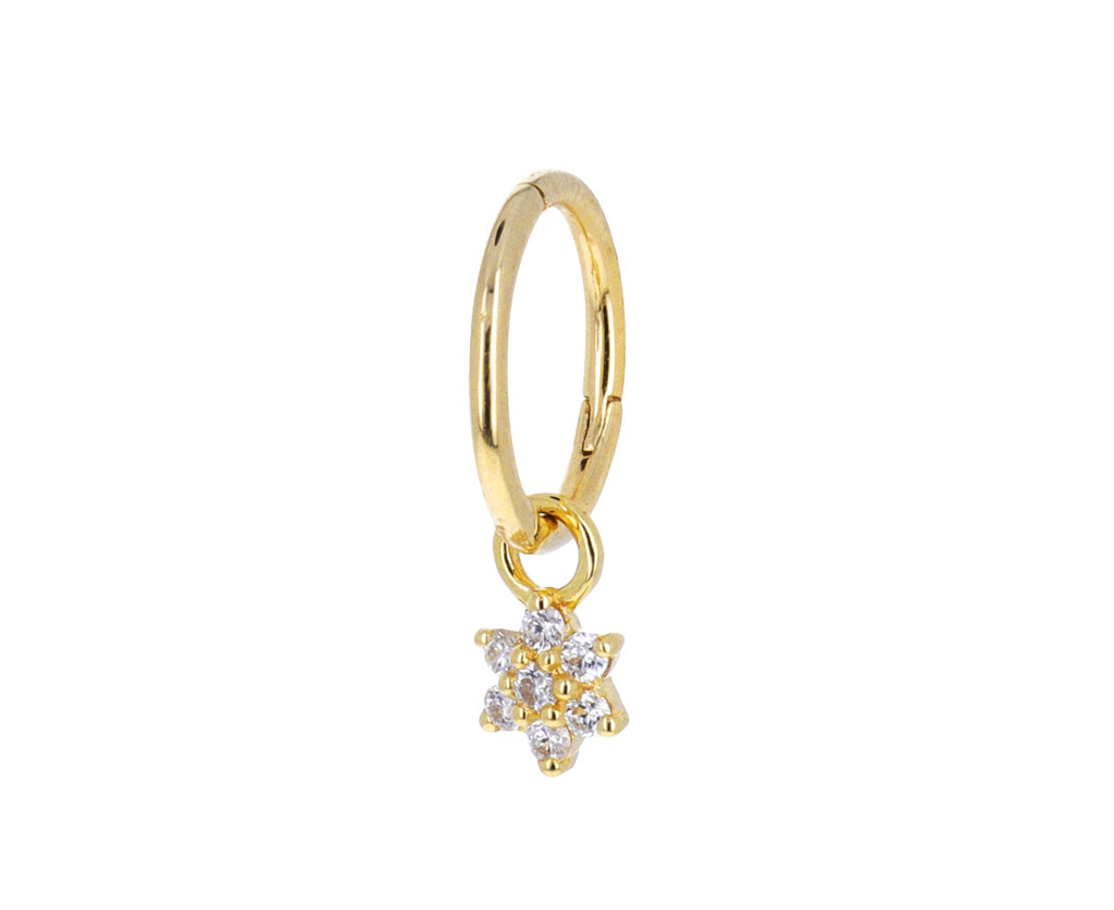 Yellow Gold and Diamond Flower Dangle Charm ONLY