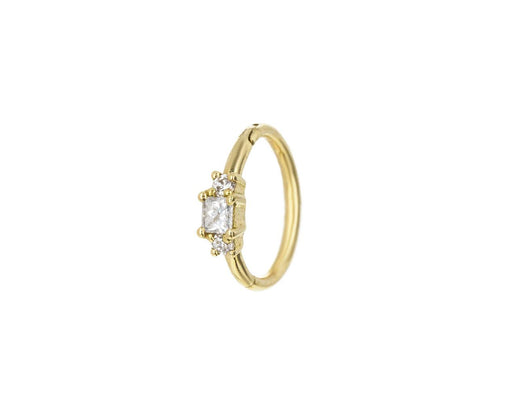 5/16 Yellow Gold Princess Cut Diamond SINGLE Rotating Hoop - TWISTonline