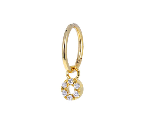 Yellow Gold Micro Pavé Circle Dangle Charm ONLY