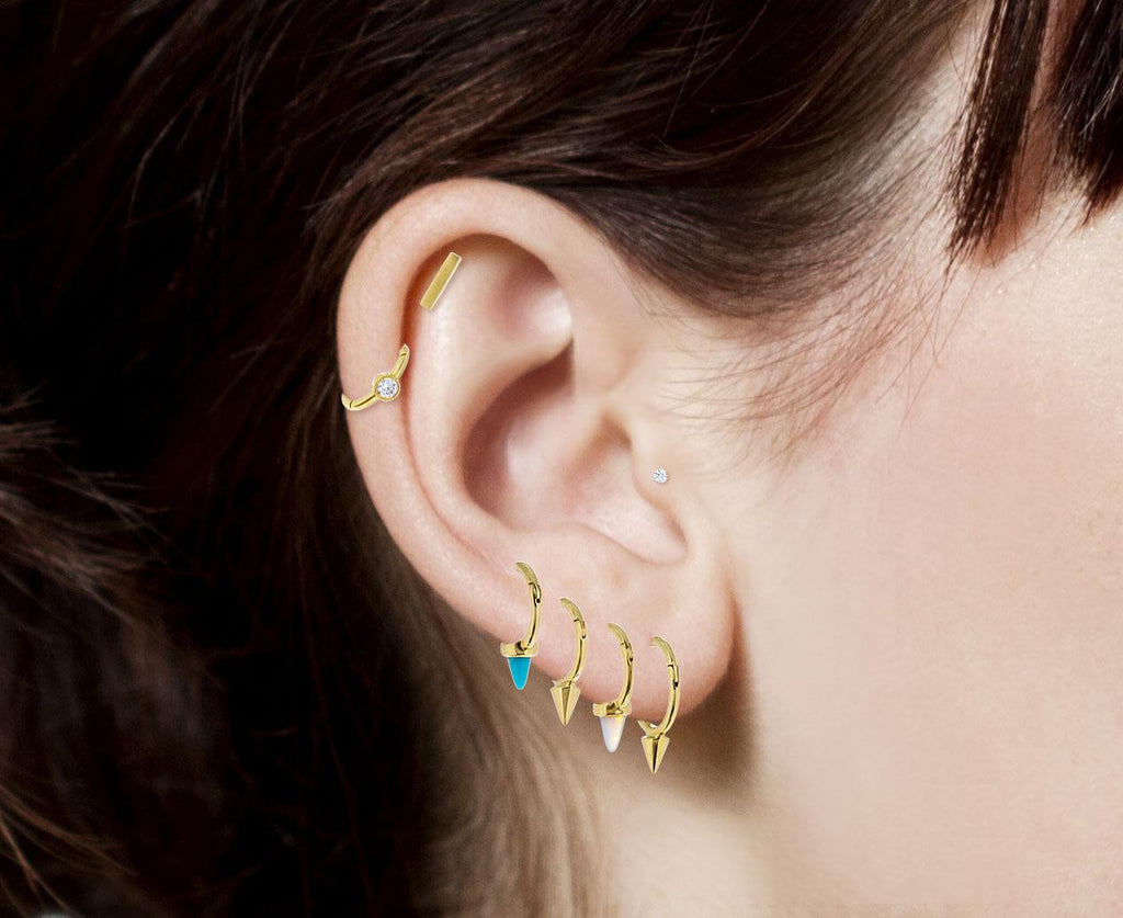 1/4 Yellow Gold Turquoise Spike SINGLE Rotating Hoop - TWISTonline