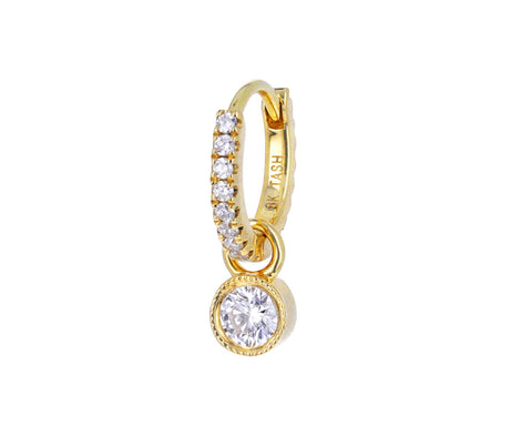 3mm Yellow Gold Scalloped Set Diamond Dangle Charm ONLY