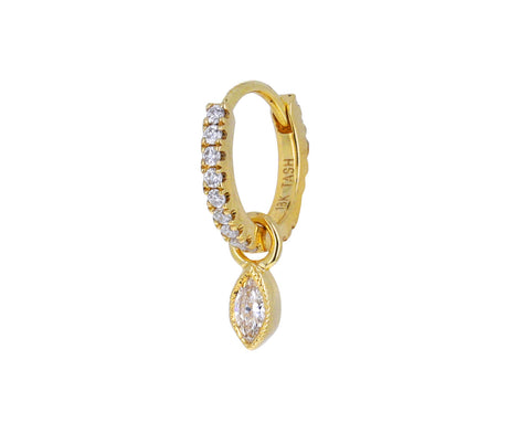 Marquise Scalloped Set Diamond Dangle Charm ONLY