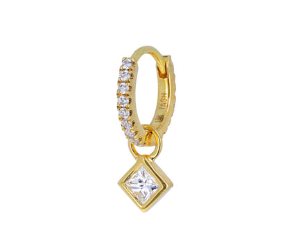 Yellow Gold and Princess Cut Diamond Charm ONLY