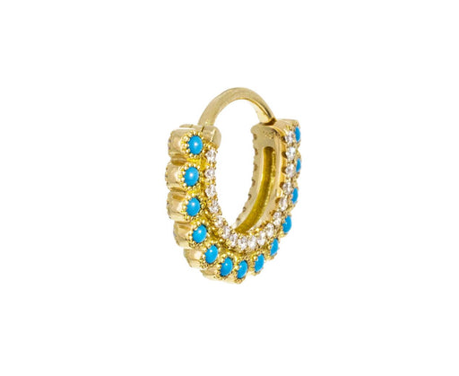 5/16 Opal and Turquoise Aspara Diamond SINGLE Hoop - TWISTonline