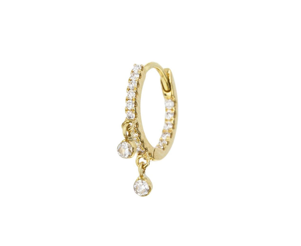 5/16 Yellow Gold Diamond Dangle Eternity SINGLE Hoop - TWISTonline