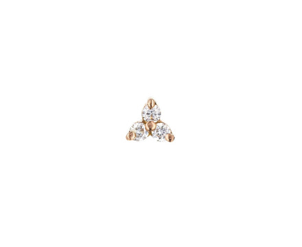 Rose Gold Diamond Trinity SINGLE Stud - TWISTonline