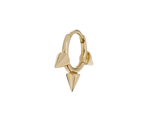 1/4 Yellow Gold Triple Spike SINGLE Hoop - TWISTonline