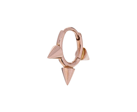 1/4 Rose Gold Triple Spike Clicker SINGLE Hoop - TWISTonline