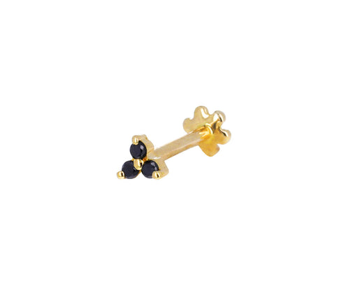 Yellow Gold Black Diamond Trinity SINGLE Earring