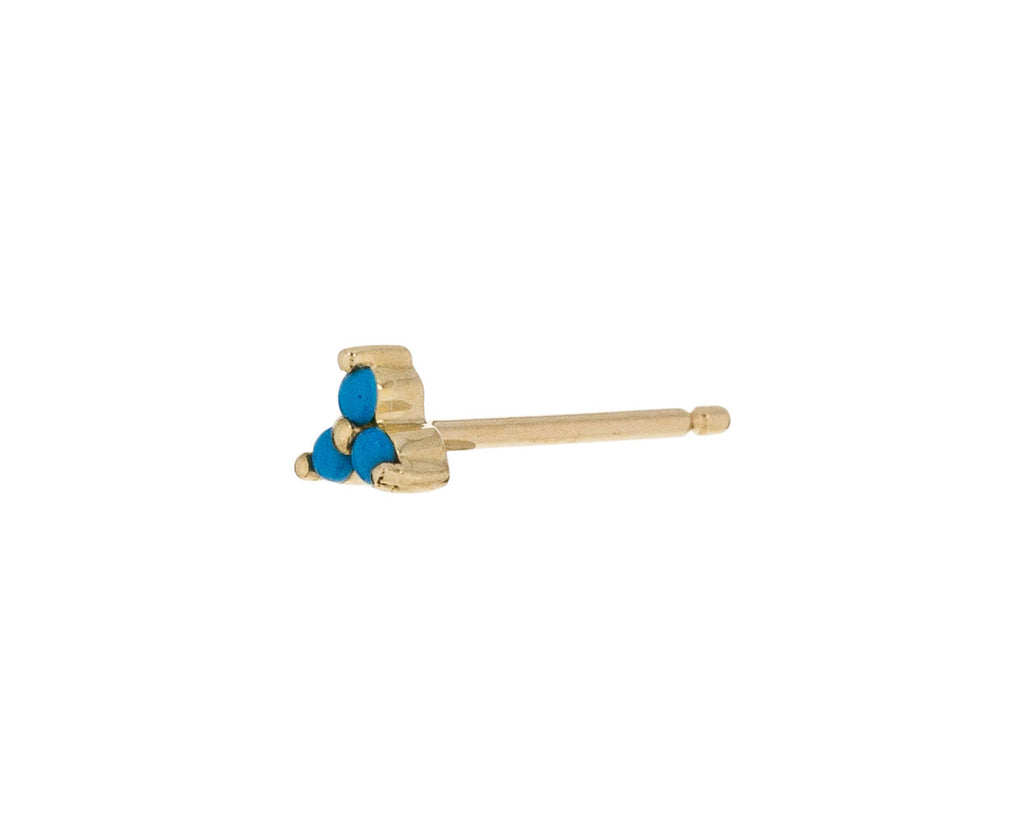 Yellow Gold Turquoise Trinity SINGLE Stud - TWISTonline
