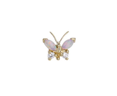 Yellow Gold Opal and Diamond Butterfly SINGLE Stud