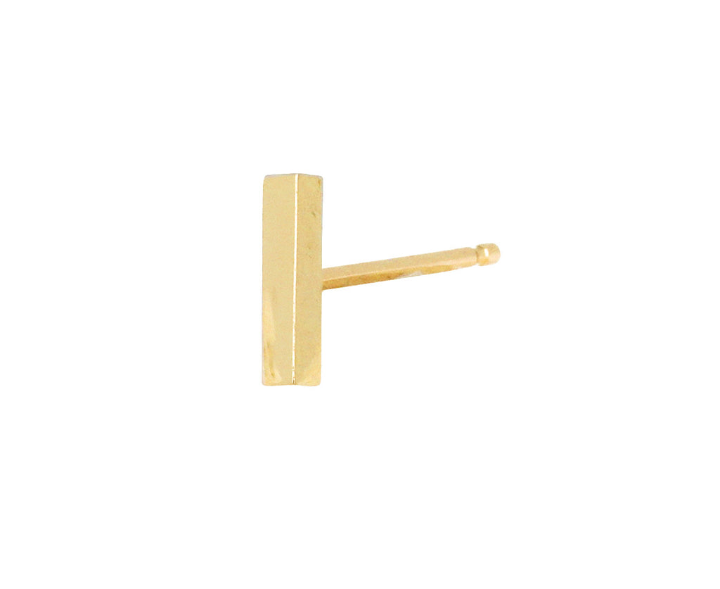 7mm Polished Yellow Gold Bar SINGLE Stud Earring