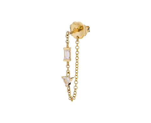 Yellow Gold Diamond Chain SINGLE Earring - TWISTonline