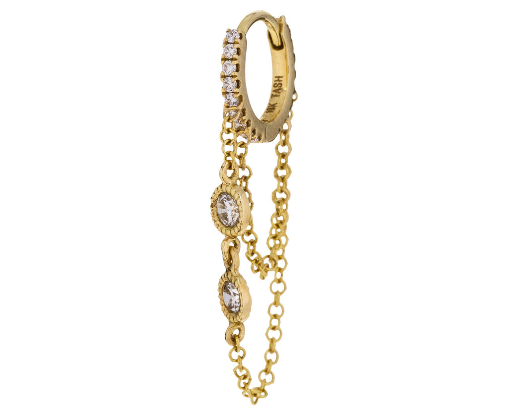 1/4 Yellow Gold Round Diamond Chain SINGLE Hoop - TWISTonline