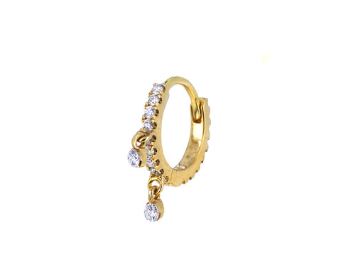 1/4 Yellow Gold Diamond Dangle Eternity SINGLE Hoop