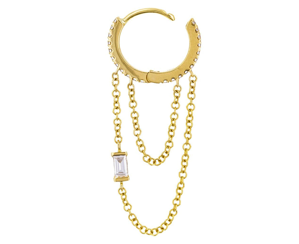 5/16 Yellow Gold Diamond Baguette Chain SINGLE Hoop - TWISTonline