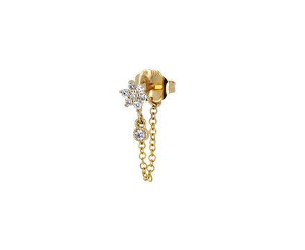 Yellow Gold Diamond Flower Stud and Chain SINGLE Earring