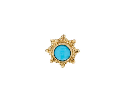 Yellow Gold Turquoise Starburst SINGLE Stud - TWISTonline