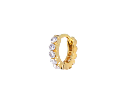 3/16 Yellow Gold Invisible Set Diamond Eternity SINGLE Hoop