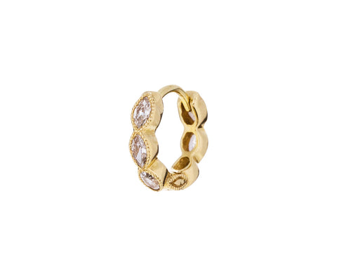 1/4 Yellow Gold Marquise Diamond Eternity SINGLE Hoop - TWISTonline