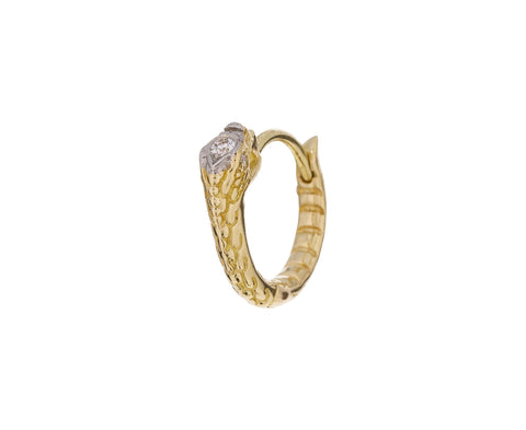 5/16 Yellow Gold Diamond Ouroboros SINGLE Hoop - TWISTonline