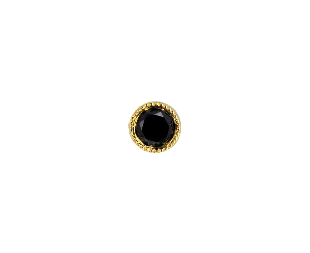 3mm Black Diamond Scalloped Set SINGLE Stud