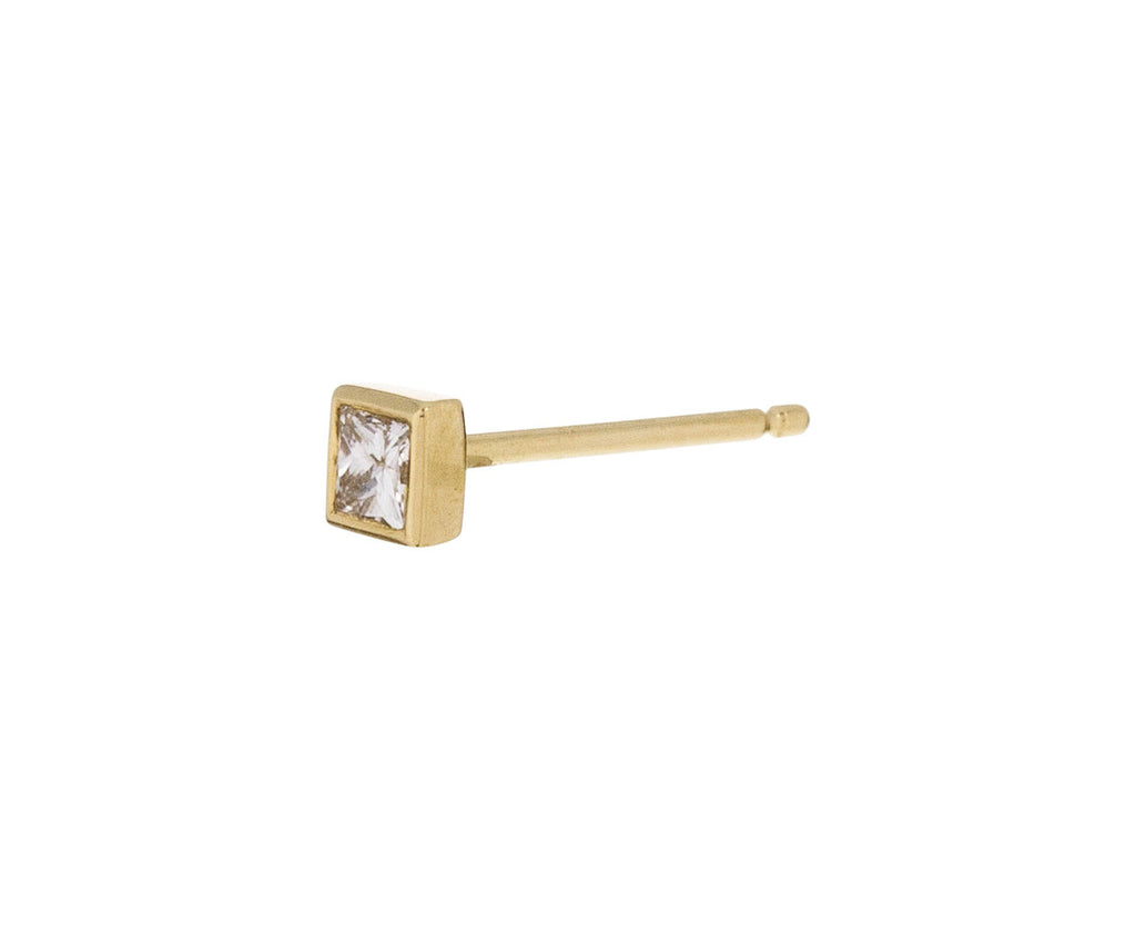 Yellow Gold Princess Cut Diamond SINGLE Stud