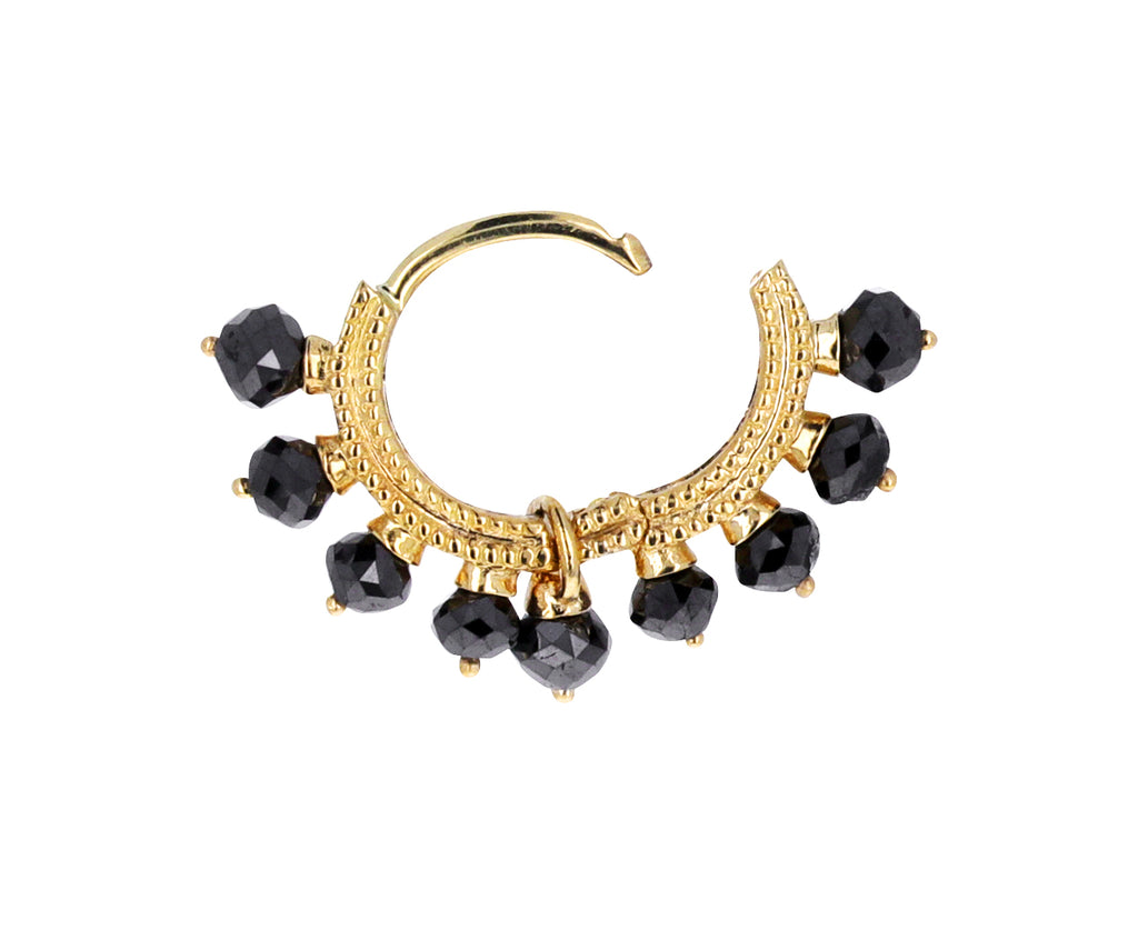 1/4 Yellow Gold Black Diamond Coronet SINGLE Hoop