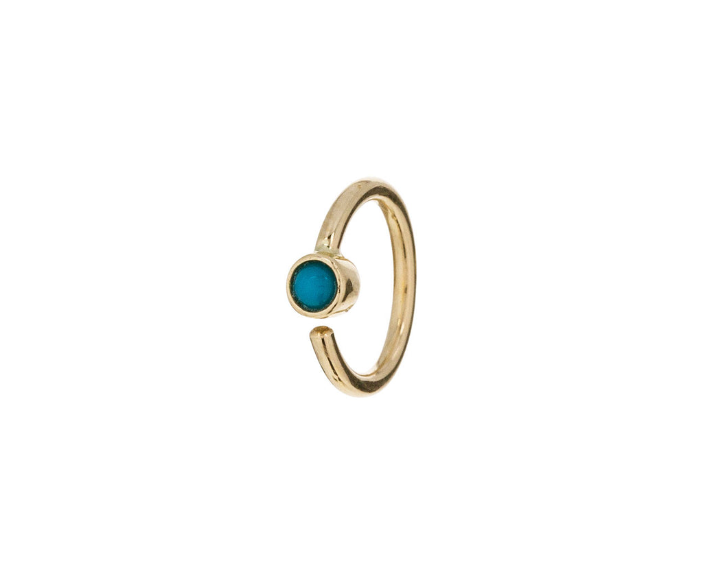 Yellow Gold Turquoise SINGLE Hoop