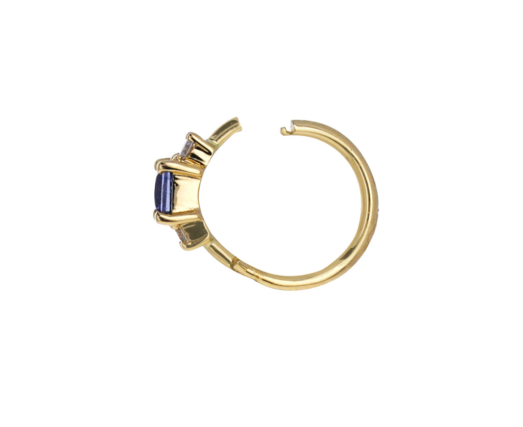 5/16 Blue Sapphire and Diamond SINGLE Hoop