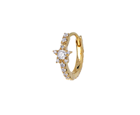 5/16 Yellow Gold Diamond Star Eternity SINGLE Hoop