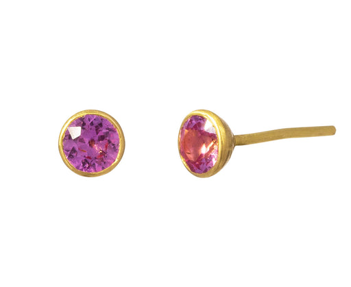 Small Pink Sapphire Bindi Stud Earrings