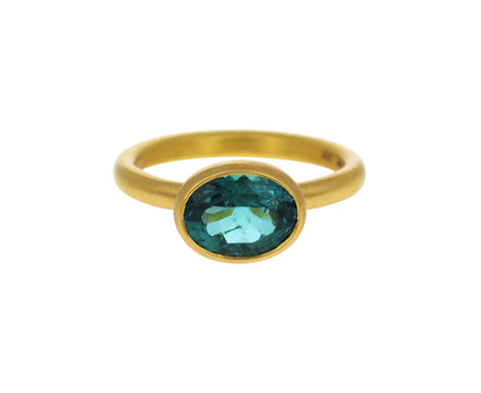 Blue Green Tourmaline Princess Ring